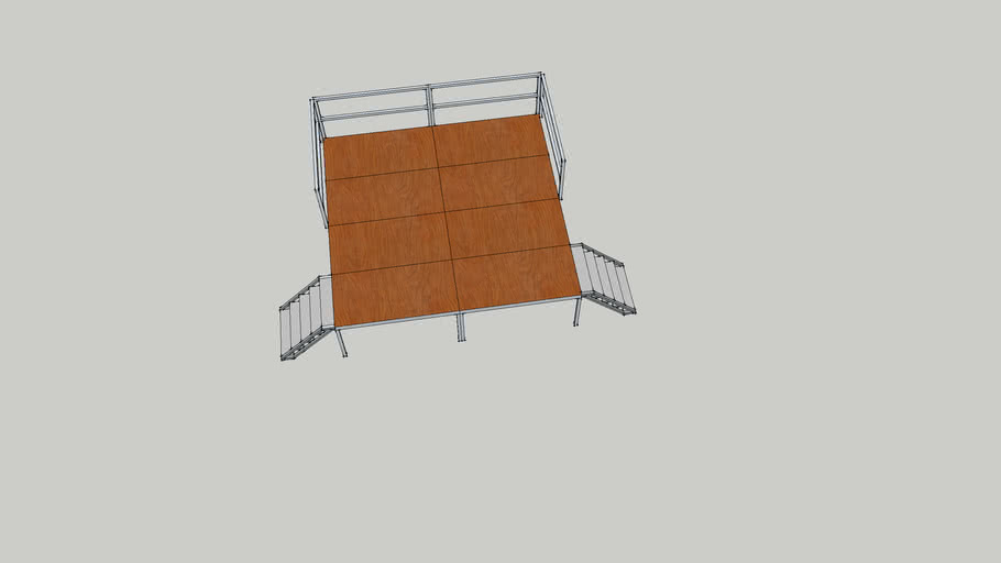 4x4x1 stage with out cover, with fence.