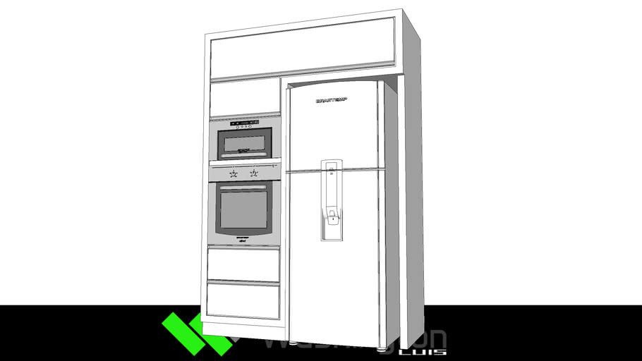 torre forno  microondas e geladeira brastemp