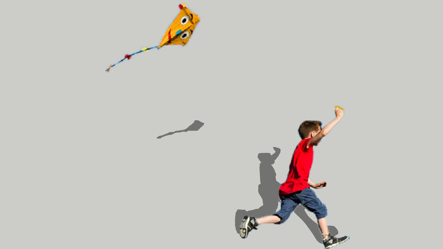 2D Kid Flying Kite Child playing with