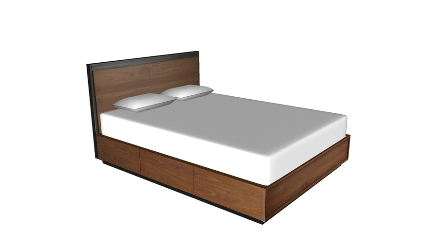 Wood bed with pillows low-poly
