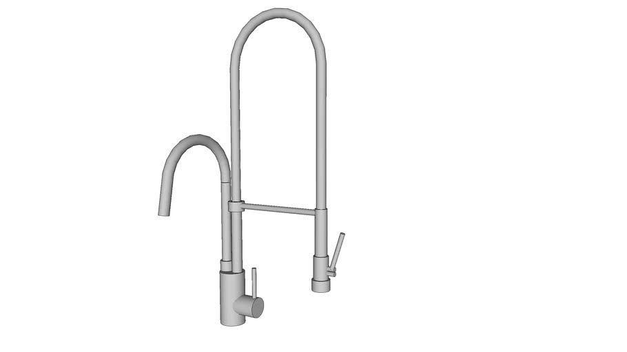 Faucet pull-down -  industrial kitchen - simple low poly - torneira gourmet simples