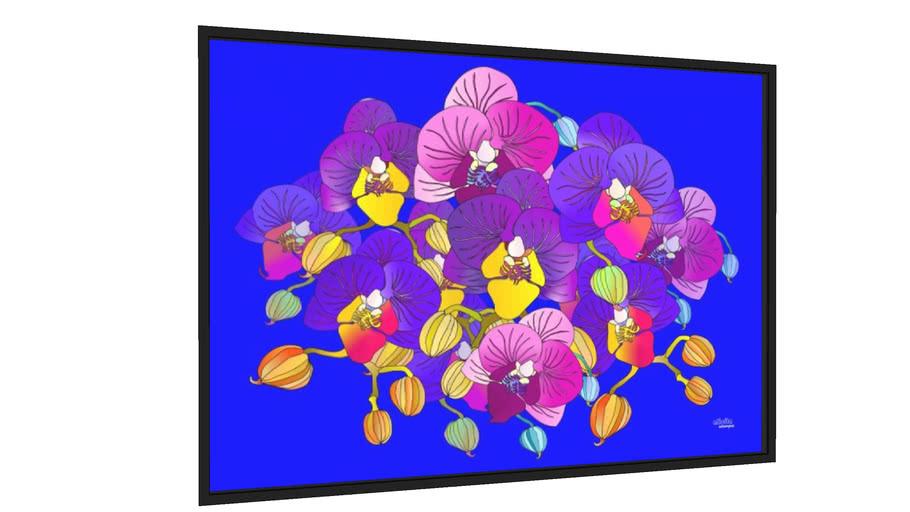 Quadro Orquídeas roxas sobre azul - Galeria9, por Alicita