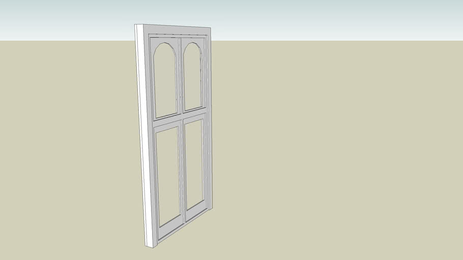 Double Glass Door with Dual Arched Transom