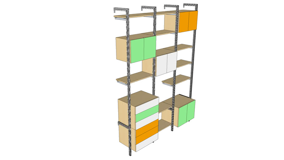 """ISS Designs Modular Shelving - 76""""W Wall Unit System- 3Drawer Cabinets"""