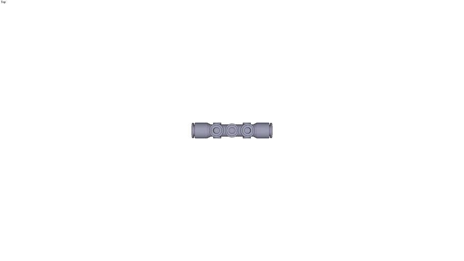 3304 - MULTIPLE TEE WITH FIXING HOLES DIAM D1 3/8 INC DIAM D2 1/4 INC