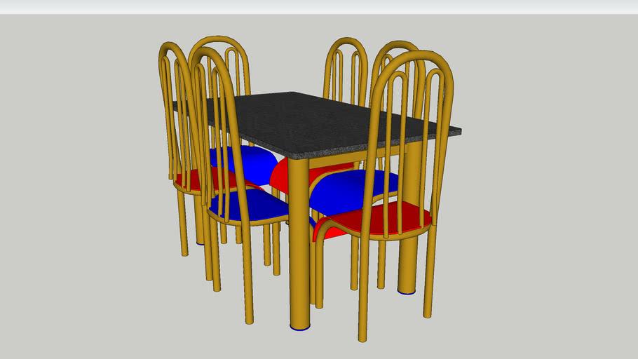 Conjunto Mesa e Cadeiras.