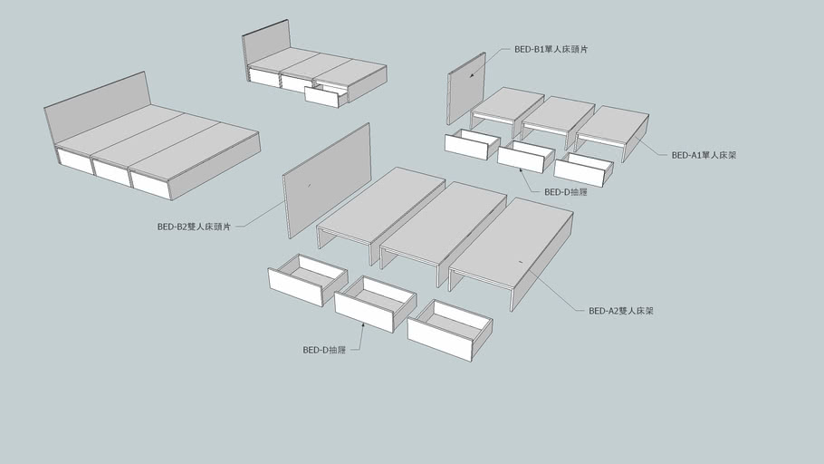 GOezGO BED-A 組合式 單人床架/床底/舞台/架高地板
