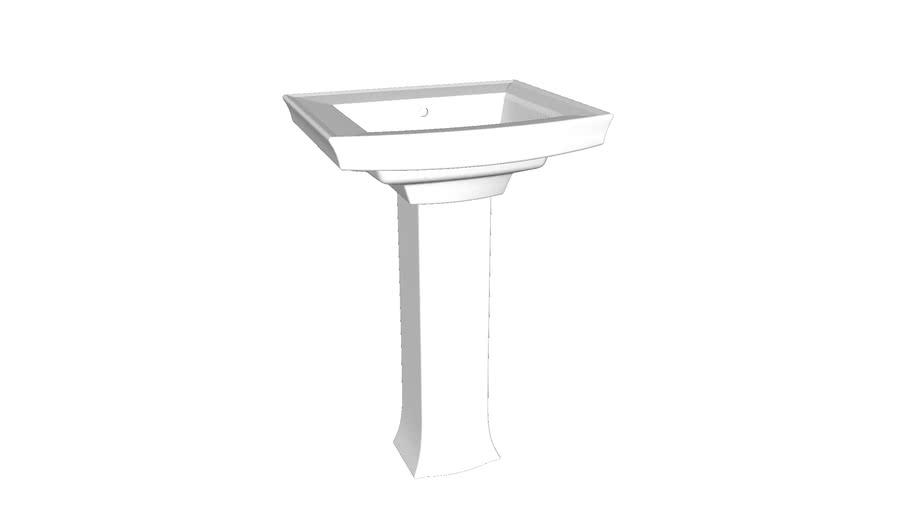 "K-2359-8 Archer(R) Pedestal bathroom sink with 8"" widespread faucet holes"