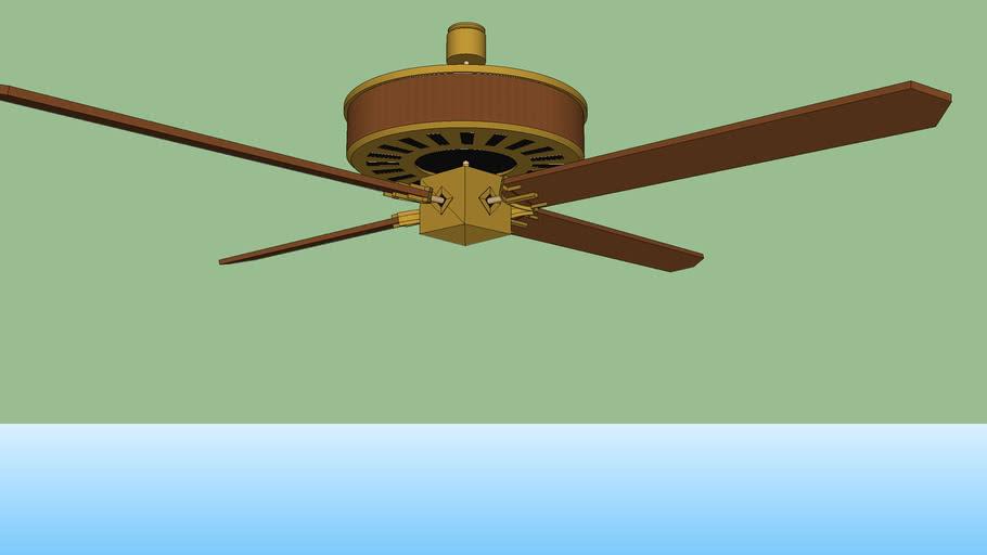 wood and bronze fan