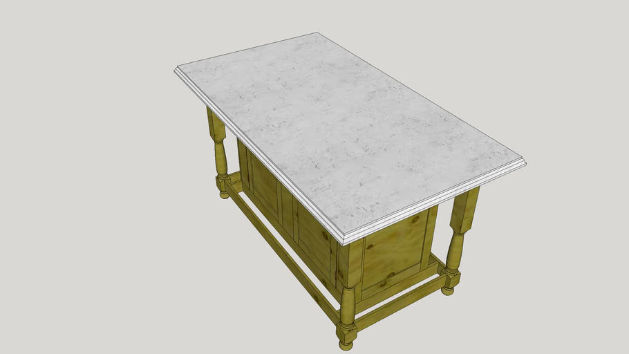 Kitchen island table w turned legs, concrete counter top