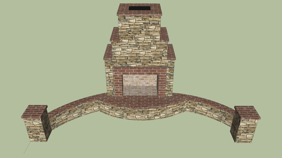 Fireplace with seat wall