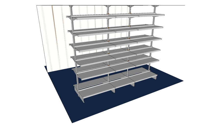 Center-Room Cantilever Shelving System - Floor-to-Ceiling, Back-to-Back