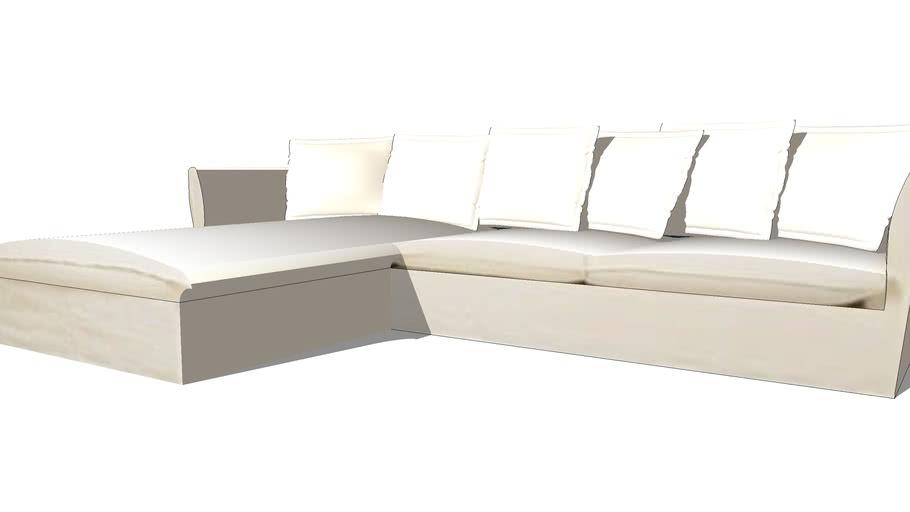 BARCELONE Canapé d'angle gauche 7 places en lin lavé blanc REF 166684 PRIX 1490.00€