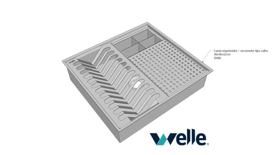 Calha úmida canal organizador em aço inox para cozinha 50x46x12 cm Welle
