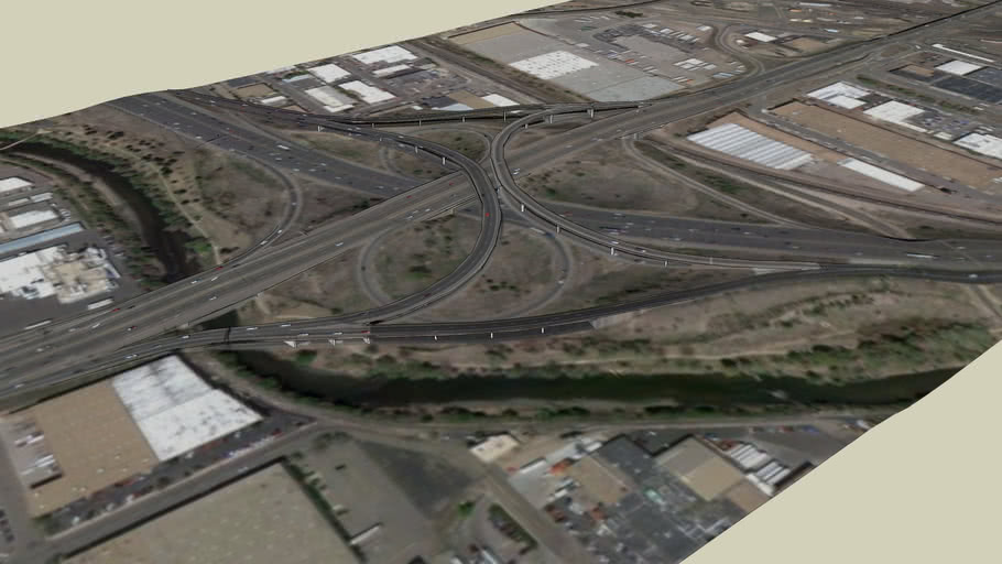Highway 6 and I-25 Semi-spaghetti  Highway Interchange