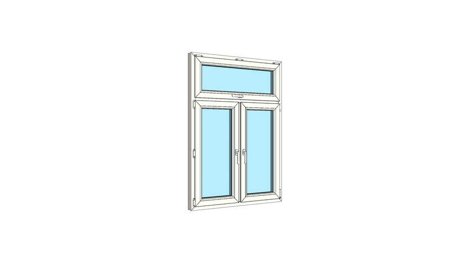 Окно двухстворчатое с одинарной верхней фрамугой VEKA Softline 82