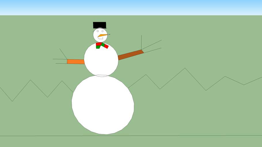 muñeco de nieve en la nieve 2d
