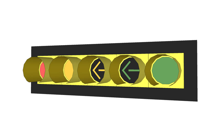 Horizontal Traffic Signal Advance Green with Frame, Yellow & Green Arrows Separate B, 12 Inches