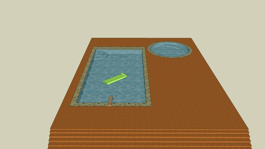 Deck with pool and hot tub