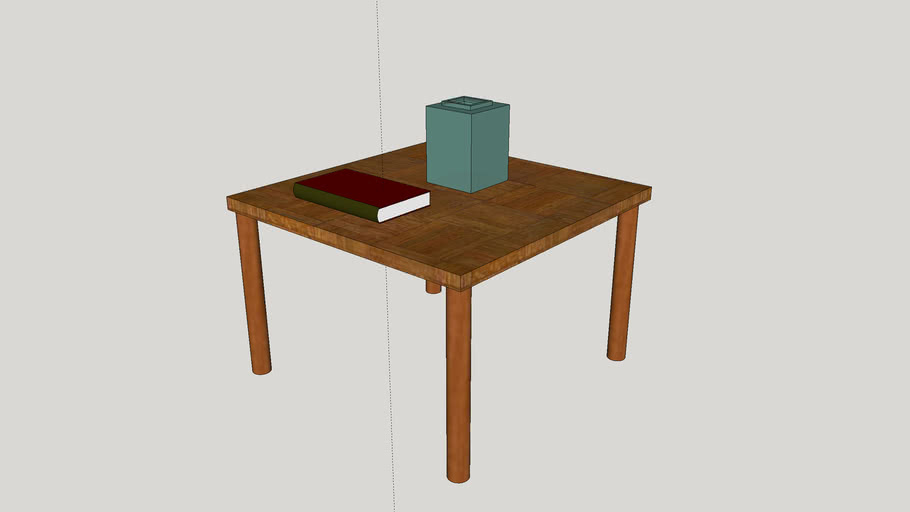 Table with book and vase