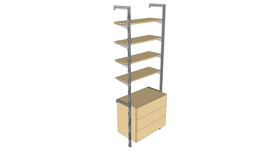 """ISS Designs Modular Shelving - 33""""W Wall Unit - 3Drawer and 4 shelves"""