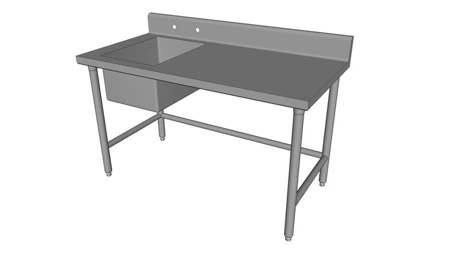 Worktable w/Backsplash, Cross-Bracing , and Sink [WT1-30-XB-60-S1723L]
