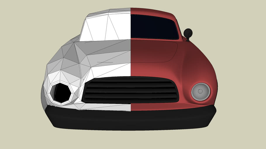 tutorial car model (before subdivision and after)