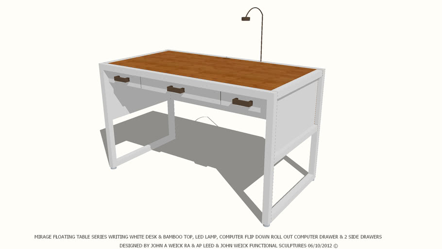 TABLE DESK WHITE & BAMBOO TOP DESIGNED BY JOHN A WEICK RA & AP LEED
