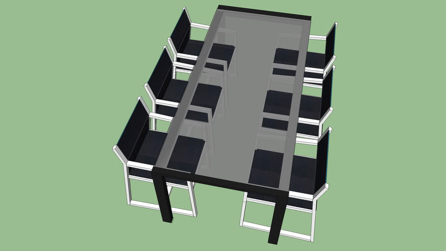 6- Seater Glass Table Black & White Chairs