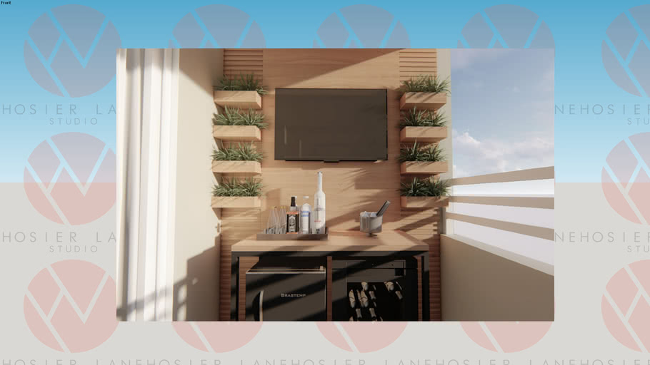 Terraço Bar com Painel Ripado TV