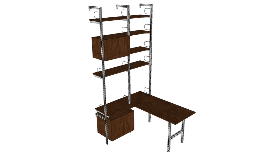 "ISS Designs Modular Shelving - 51""W HomeOffice Unit with L-Shaped deck"