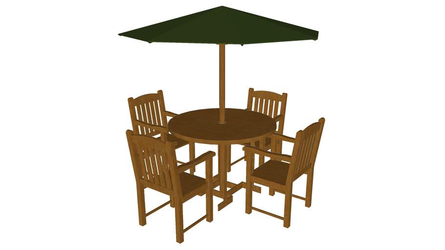 Teak Table Set - Detailed