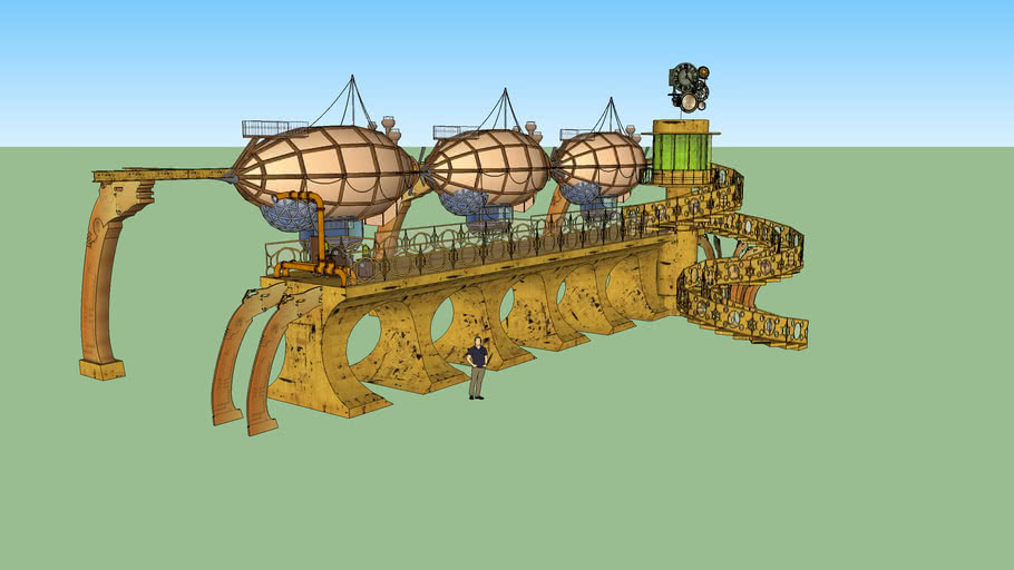 Airship Monorail and Load Station