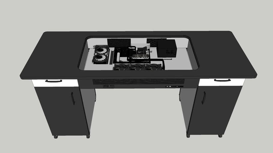 PC desktop embedded in desk