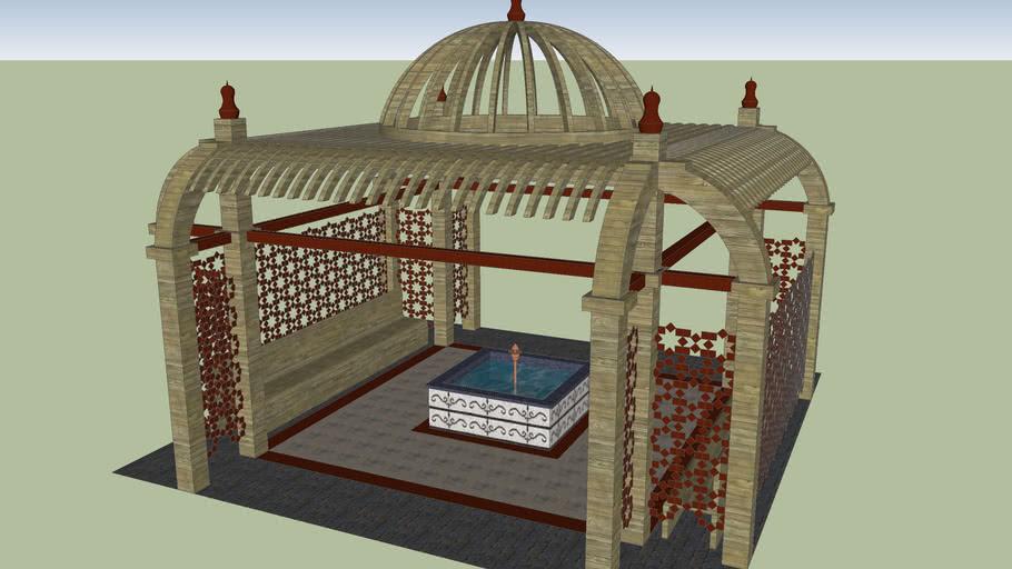 Wooden pergola + fountain