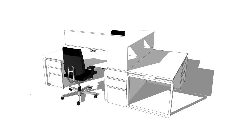 Bureau 3 Places Ping Pong Famo Blanc 3d Warehouse