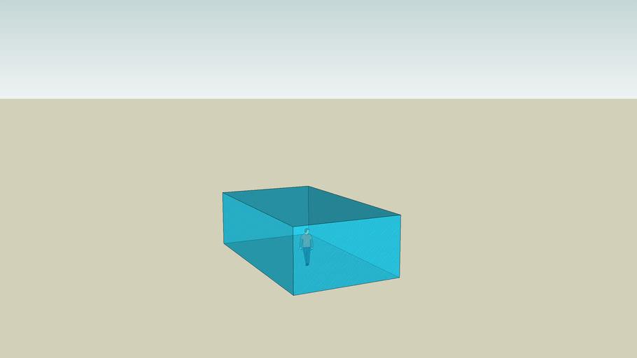 A man in a glass box