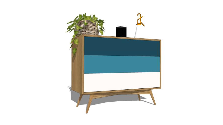 Commode buffet sur-mesure en chêne, 3 tiroirs, 100x40xh80cm / short buffet, dresser