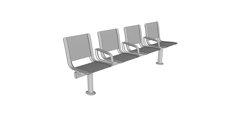 Forms+Surfaces® Tangent™ Rail Seating, 4 backed seats, stainless steel seat pans