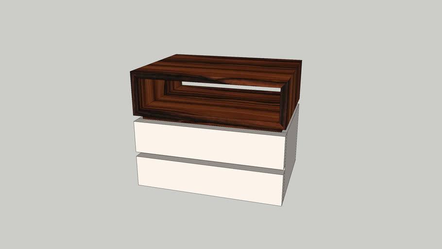 Mesa cabeceira Nice 2 gavetas com módulo superior palissandro lacado perola