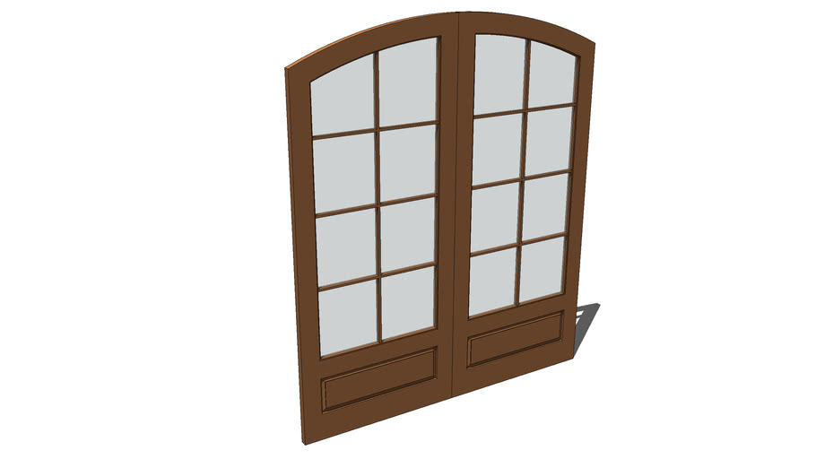 Pair wood and glass doors