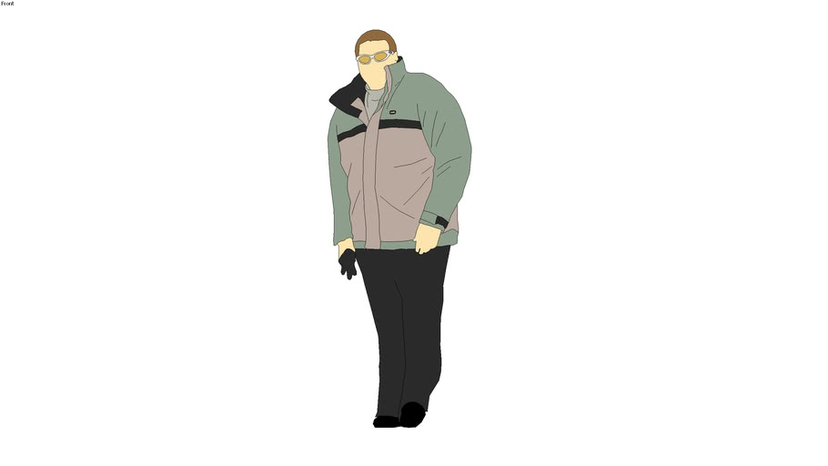 2D Man - Ski Jacket & Sunglasses