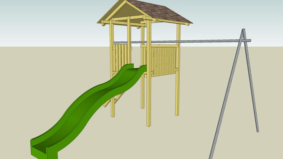 Dětské hřiště -věž se skluzavkou a houpačkami