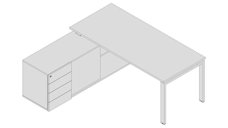 Mesa Gerente com armário credenza - PLU7359 - 4Gavetas esq.