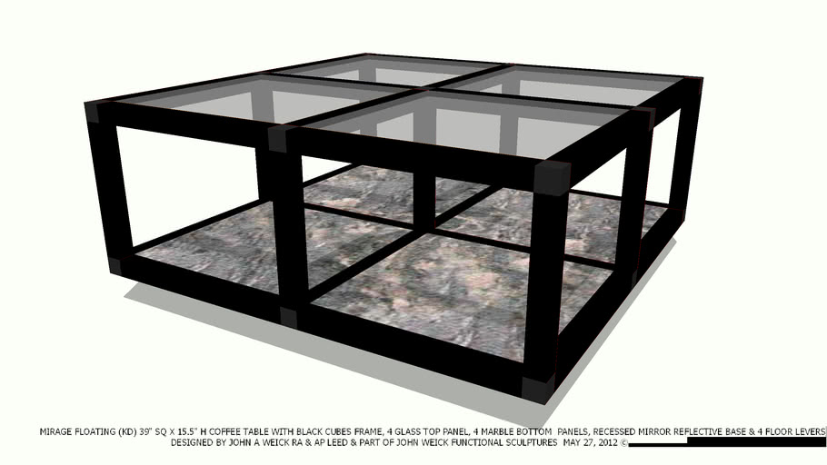Coffee Table 39 Sq Black Cubes 4 Gl