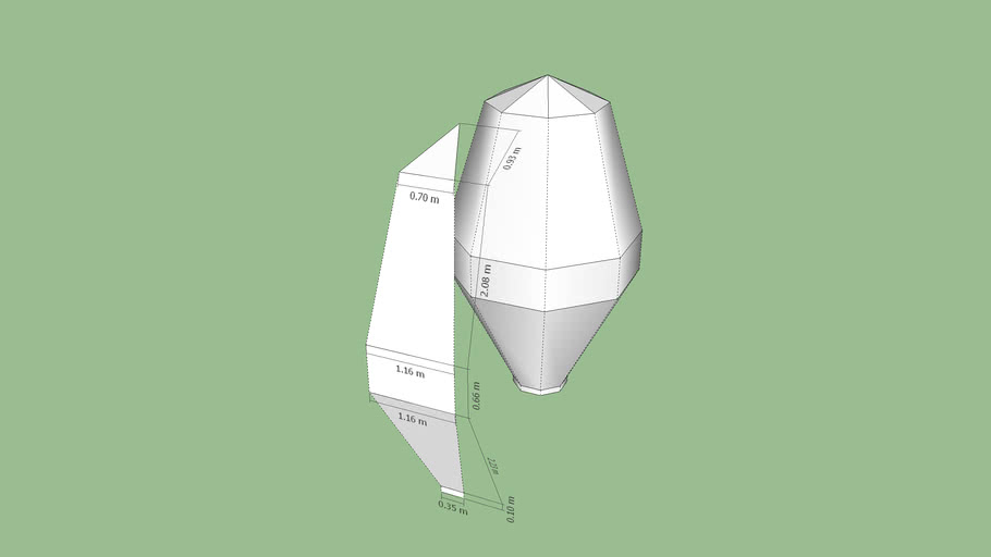 Globo aerostatico de papel doble cono