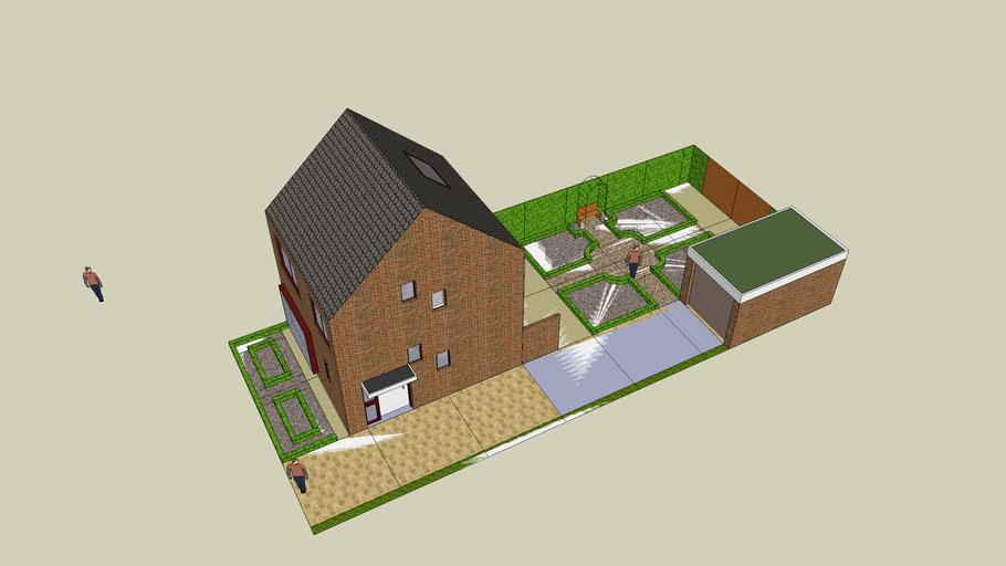 huis, tuin en garage