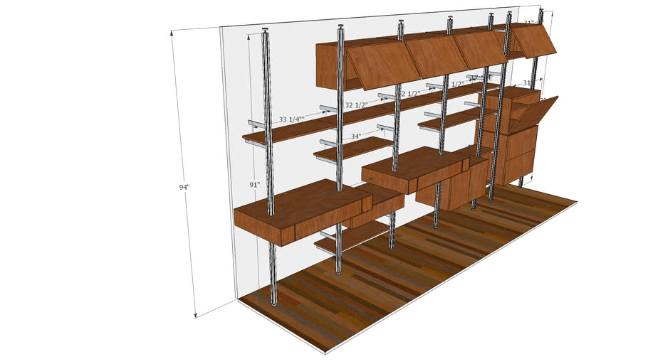 """ISS Designs Modular Shelving - 182""""W Home Office-2 Floating Desk"""