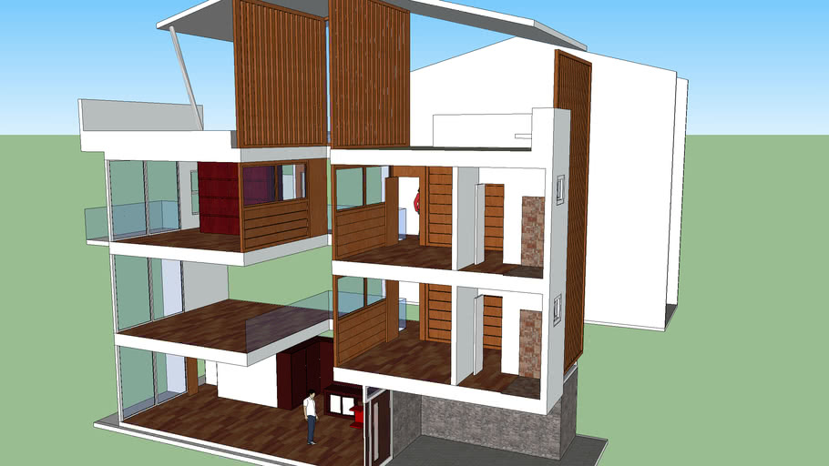Three Storey Residential With Roof Deck 3d Warehouse