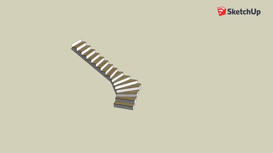 Betontreppe, viertelgewendelt, mit Holzstufen